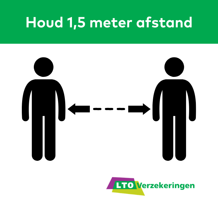 Let op dat werknemers anderhalve meter afstand houden